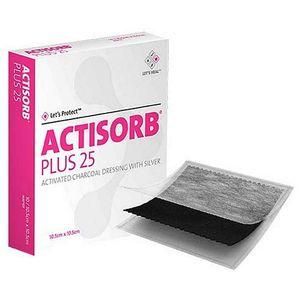 Actisorb Plus 25 10,5 Cm X 10,5 Cm - Cobertura De Carvão Ativado Com Prata